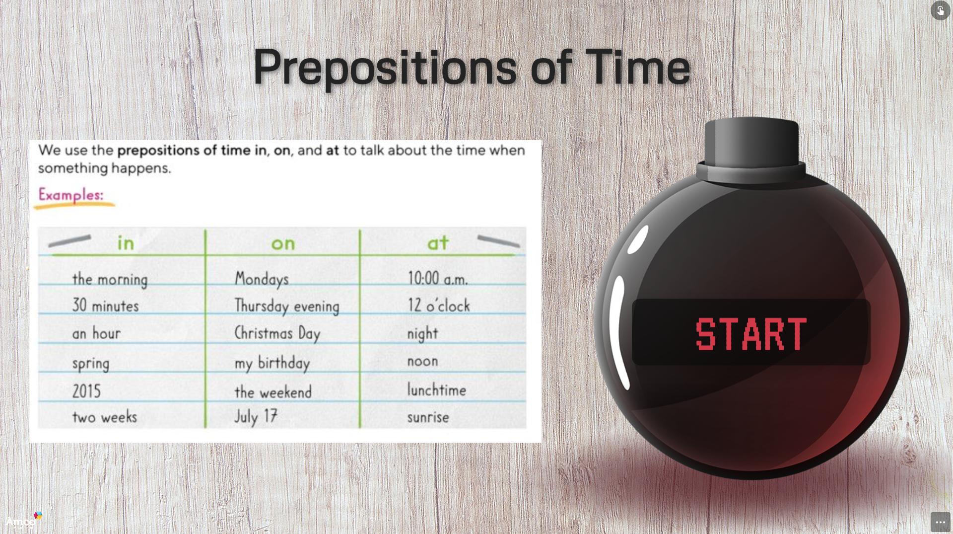 activity-prepositions